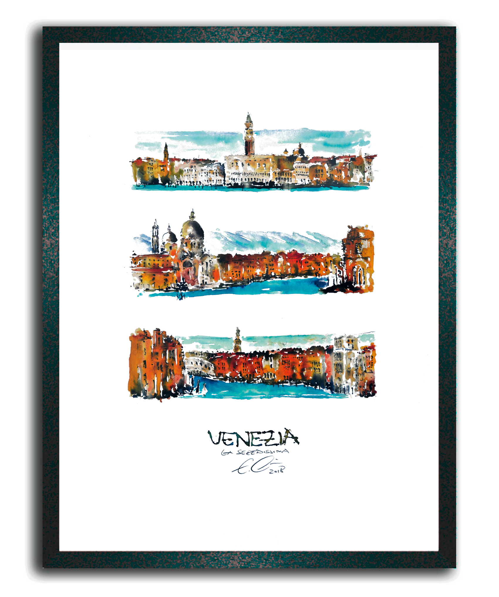 Erik Limmer - Kunst aus Passau | Venezia, gerahmt im Holzrahmen (Art ...